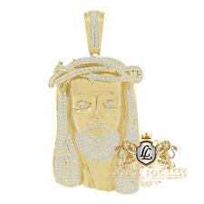 Men's Custom Piece 14K Gold Tone Simulated Diamond Jesus Face Charm Pendent 3.5'