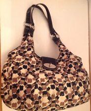 Easy Spirit Purse Shoulder Bag Tan Black Brown Print Fabric Vegan NEW