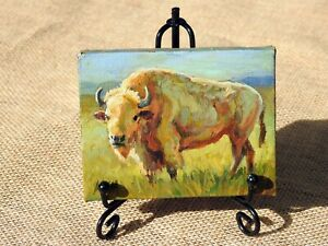 Hand painted miniature oil painting of a white buffalo, with metal display easel