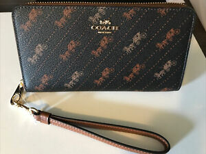 New Coach Long Zip Around Wallet With Horse And Carriage Dot Print $268