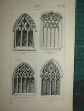 1845 ANTIQUE ARCHITECTURE PRINT ~ WINDOW DECORATED ST MARY MAGDALENE FARINGDON