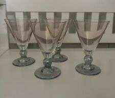 Vintage Art Deco Martini Glasses Set of 4 Pale Pink Blue Luster Bubble Ball