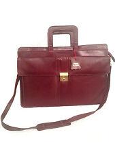 Vintage Deep Red Leather Unisex Commuter /Briefcase Bag W Retractable Handles