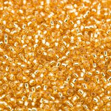 Czech Seed Beads Round 11/0 Silver Lined Topaz (Gold) 20g 10645063