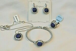 NWT Brighton Color Clique Silver & Lapis Hinged Bangle, Necklace,Earrings& Ring