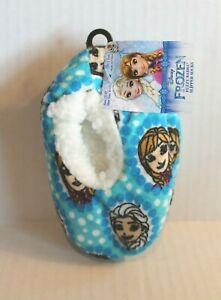 Disney Frozen Blue Fleece Slippers Slipper Socks Toddler Girl 3T-4T Shoe 8-10