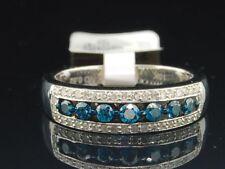 Ladies 10K White Gold Blue & White Diamond Engagement Ring Wedding Band 0.52 Ct.