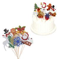 10 Pcs Xmas Cake Toppers Snowman Elk Christmas Tree Cupcake Picks Party Decor