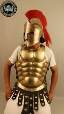 COLLECTIBLES MEDIEVAL MUSCLE SUIT WITH SPARTAN HELMET HALLOWEEN BRASS FINISH NEW