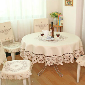 White Embroidered Lace Tablecloth European Tablecover Floral Round Square Decor