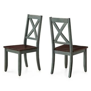 Set of 2 Dining Chair Traditional Solid Wood Maddox Crossing Seat Home Furniture