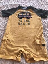 Janie And Jack Boys Yellow Short Sleeve Shorts Romper Van Beach 6-12 Months