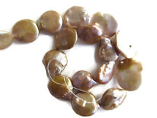 Beige Fresh Water Keishi Pearl Flat Round Coin Beads 14 Inches 17mm To 24mm FP35