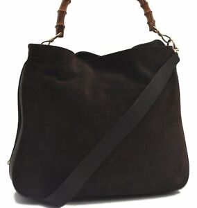 Authentic GUCCI Bamboo 2way Hand Shoulder Bag Suede Leather Brown C1061