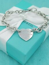 "Genuine Return To Tiffany & Co Silver Heart Tag Bracelet 7.5"" Great Condition"