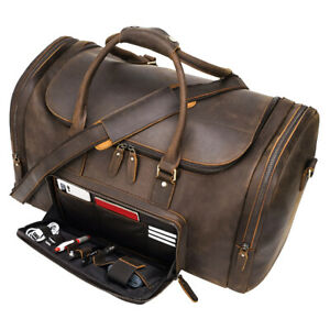 Full Grain Leather Luggage Duffel Gym Bag Travel Bag Holdall Carry On Suitacase