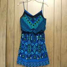 Express Blue Symmetrical Pattern Dress Size Small