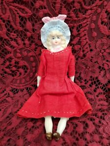 """Vintage/Antique Unmarked Parian Head Girl Doll W/ Nice Molded Hat 7.5"""" Cute"""