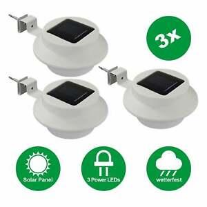 3x LED Solar Dachrinnenleuchte Außen-Licht Solarleuchte Garten Sensor Kabellos