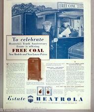 Estate Heatrola Coal Home Heater PRINT AD - 1931 ~~ free coal