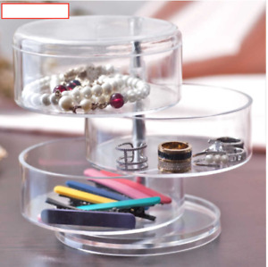 *WOW* 3 Circular Drawers Cosmetic Organiser Clear Acrylic Make Up Holder Storage