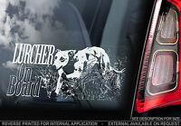 Lurcher - Car Window Sticker - Dog on Board Art Sign Gift - n.whippet,greyhound
