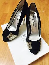 Ron White High heel shade Pumps, gold accents. Sz 38. Italy.