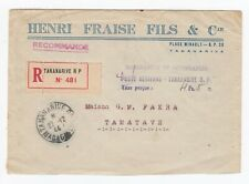 WW2 Internal Registered Cover Tananarive Madagascar Poste Aerienne Tase Percue