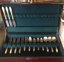 "24 PIECE COMMUNITY SILVERPLATE FLATWARE LADY HAMILTON & 19"" WALLACE CHEST"