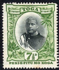 Tonga 1897 black/green 7.5d mint perf 14 watermark tortoises SG48