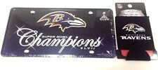 Baltimore Ravens NFL Super Bowl XLVII Champion License Plate & Koozie Can Holder