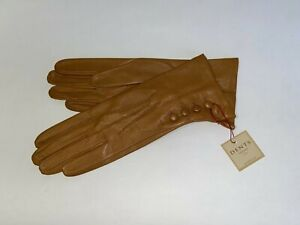 Genuine Dents leather gloves - Silk lined with 4 Button detail - Sycamore