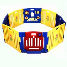 Indoor Outdoor Baby Playpen Kids 8 Panel Safety Play Center Yard Home Pen