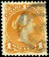 Canada #23a used VF 1869 Queen Victoria 1c deep orange Large Queen 2-ring cancel