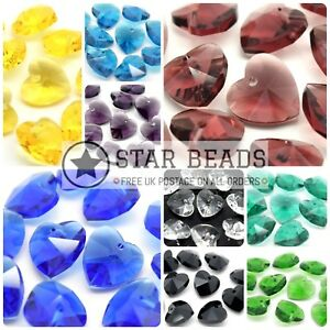10 X CRYSTAL 14MM FACETED GLASS HEART JEWELLERY MAKING PENDANTS - PICK COLOUR