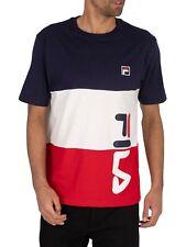 Fila Uomo T-Shirt con grafica a strisce tagliate e cucite Alfredo, Blu
