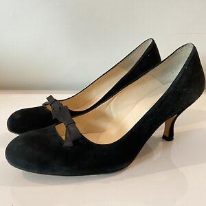 LK Bennett Size 7 40 black suede low heeled court smart work office excellent