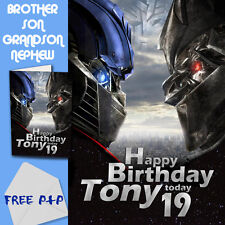 TRANSFORMERS - PERSONALISED Birthday Card Son Brother Nephew Grandson