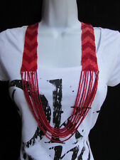 Women Necklace Fashion Red Pink Long Beads Trendy Hawaiian Beach Chevron Style