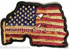 "(C34) 3"" x 2"" Vintage American Flag iron on patch (2843) Biker Vest Cap"
