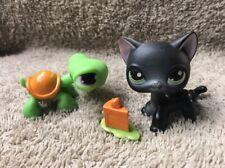 Authentic Littlest Pet Shop Lps Black & White Shorthair Cat #336 Green Eyes