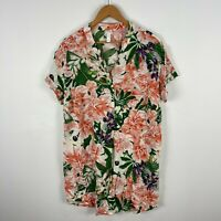 H&M Womens Tunic  Dress Large Floral Short Sleeve V-Neck