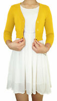 Plus Size Vintage Casual Busniess Women Cropped 3/4Sleeve V-Neck Fitted Cardigan
