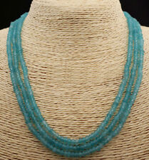 Light Blue Aquamarine Beads Necklace 18-20� Faceted 3 Rows 2x4mm Genuine Natural