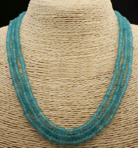 """Faceted 3 Rows 2x4mm Genuine Natural Light Blue Aquamarine Beads Necklace 18-20"""""""
