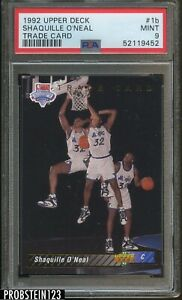 1992-93 Upper Deck #1B Shaquille O'Neal Magic RC Rookie HOF PSA 9 MINT