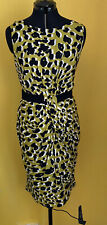 Per Una Dress Size 16 Lime Green & Black Animal Print Ruched Side