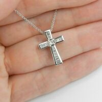 1.00 Carat 14k White Gold Finish Baguette Cut Diamond Cross Pendant Necklace