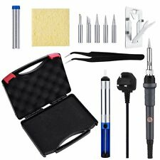 60W 220V Soldering Iron Kit Cleaning Sponge Adjustable Temp 5pcs Tips
