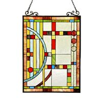 Stained Glass Tiffany Style Window Panel Contemporary 17X25 LAST ONE THIS PRICE